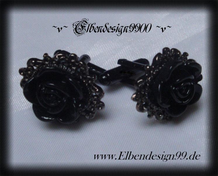 Manschettenknöpfe ~Black Rose~